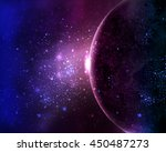 planet in the night sky space... | Shutterstock .eps vector #450487273