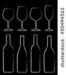 chalk wine bottle and glass set ... | Shutterstock .eps vector #450494563