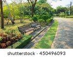 bench in beautiful city park... | Shutterstock . vector #450496093