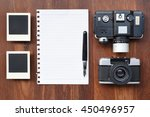 paper with pen  photo frames... | Shutterstock . vector #450496957