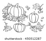 pumpkin vector drawing set.... | Shutterstock .eps vector #450512287