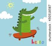 card with cute cartoon... | Shutterstock .eps vector #450518587