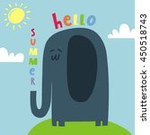 happy elephant vector card....   Shutterstock .eps vector #450518743