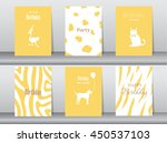 set of birthday cards poster... | Shutterstock .eps vector #450537103