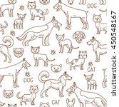 vector pets pattern. doodle dog ... | Shutterstock .eps vector #450548167