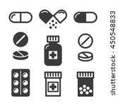 Medical Pills And Bottles Icon...