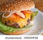 Hamburger on a plate - stock photo