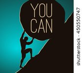 a man pushing huge rock.... | Shutterstock .eps vector #450550747