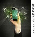 caucasian hand in business suit ... | Shutterstock . vector #450558607