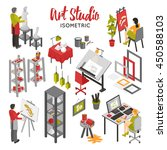 art studio isometric set with... | Shutterstock .eps vector #450588103