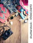 travel clothing accessories... | Shutterstock . vector #450613693