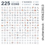 set vector line icons in flat... | Shutterstock .eps vector #450622813