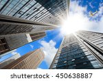 looking up aircraft flying over ... | Shutterstock . vector #450638887