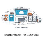 cloud computing flat outline... | Shutterstock .eps vector #450655903