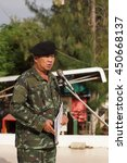 Small photo of BANGPROK PATHUMTANI JULY 11 2016 : Sergeant Major 1st class Anucha Morya from Royal Thai Army campaign for referendum of Draft Constitution on JULY 11,2016 in Patumwilai school,Patumtani Thailand.