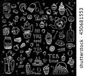 hand drawn tea time collection  ... | Shutterstock .eps vector #450681553