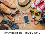 travel clothing accessories... | Shutterstock . vector #450684343