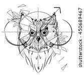 bird owl head triangular icon   ... | Shutterstock .eps vector #450689467