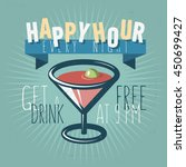 happy hour concept. vector... | Shutterstock .eps vector #450699427