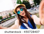 young girl take selfie from... | Shutterstock . vector #450728407
