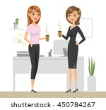 two colleagues drinking coffee... | Shutterstock .eps vector #450784267