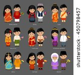 people in national dress. burma ... | Shutterstock .eps vector #450798457