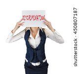 Small photo of Discrimination concept. A woman holds a poster with the word discrimination