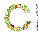 c letter from vegetables. | Shutterstock .eps vector #450813607
