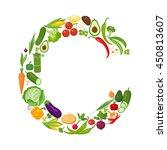 c letter from vegetables. | Shutterstock .eps vector #450813607