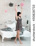 Small photo of Woman Brunette Stretching Tiptoe Awaking Barefoot Bedroom Morning Concept