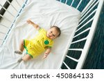 the top view of baby in cot ... | Shutterstock . vector #450864133