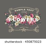 vector floral label with a... | Shutterstock .eps vector #450875023