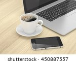 laptop smartphone and coffee... | Shutterstock . vector #450887557