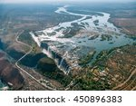 victoria falls on helicopter.... | Shutterstock . vector #450896383
