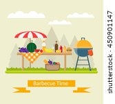 fruit  wine  barbecue  picnic... | Shutterstock .eps vector #450901147