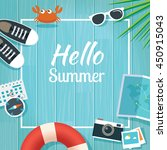 summer traveling template with... | Shutterstock .eps vector #450915043