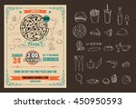 vintage vector pizza party... | Shutterstock .eps vector #450950593