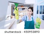 portrait of young maid wearing... | Shutterstock . vector #450953893