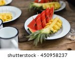 watermelon and pineapple on the ...   Shutterstock . vector #450958237