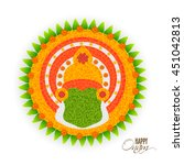 beautiful rangoli design with... | Shutterstock .eps vector #451042813