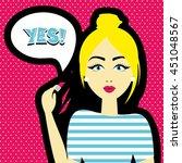pop art retro style women.... | Shutterstock .eps vector #451048567