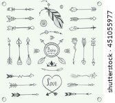hand drawn tribal arrows vector.... | Shutterstock .eps vector #451055977