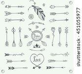hand drawn tribal arrows vector.... | Shutterstock .eps vector #451055977