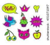 vector set of cartoon badge ... | Shutterstock .eps vector #451071097