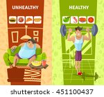 healthy and unhealthy man... | Shutterstock .eps vector #451100437