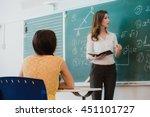 teacher or docent or educator... | Shutterstock . vector #451101727
