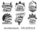 set of monochrome camper van... | Shutterstock .eps vector #451105213