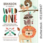Kids birthday party invitation card with cartoon tribal animals | Shutterstock vector #451109647