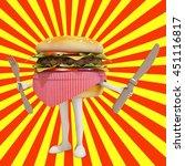 hamburger carachter with yellow ... | Shutterstock . vector #451116817