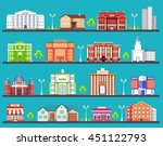 flat colorful  city buildings... | Shutterstock .eps vector #451122793